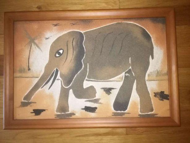 Quadro pintura de elefante em areia