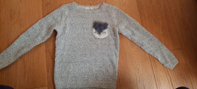 Szary sweter Coolclub z sówka r.128