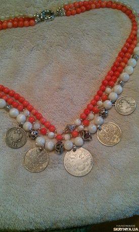 Намисто с монетами. Серебро, коралл, перламутр.