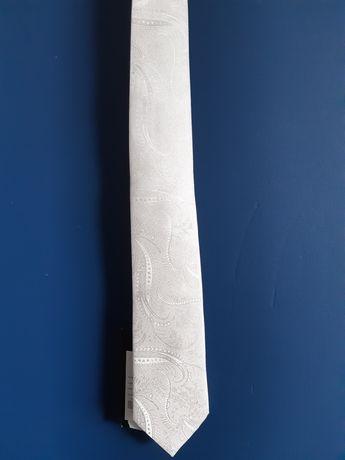 Krawat jedwabny ecru, ślubny, BYTOM