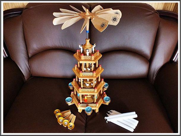 Kolekcjonerska DUŻA Szopka, ruchoma karuzela Śliczna dekoracja Święta