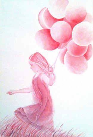 Картина Детство Девочка с воздушными шариками