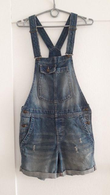 ogrodniczki jeansowe szorty spodenki przetarcia H&M 34 XS