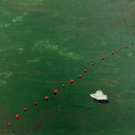 Картина «Катер», море, вода, лодка, холст, масло.