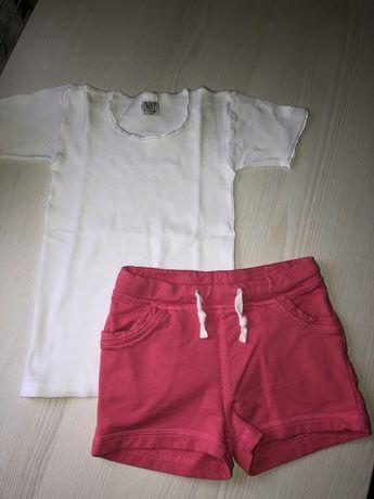 Комплект белая футболка и розовые шорты на 3-4 года, рост 98-104 см