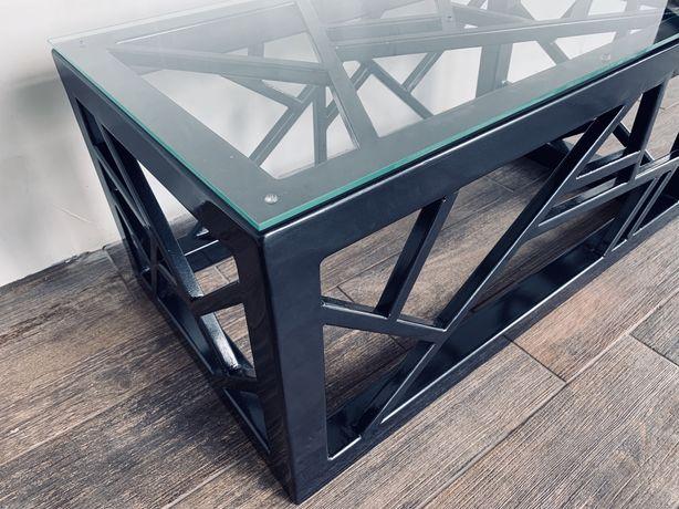 Stolik Metalowy, szklany [Nowoczesny, Metaloplastyka]
