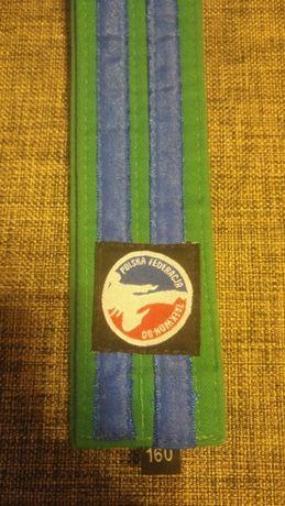 Pas zielony z belkami do Taekwon-do Polska Federacja 160cm