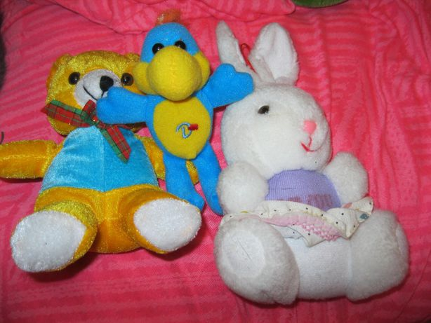 игрушка мягкая набор 3 шт мишка заяц дракон ники цена за все