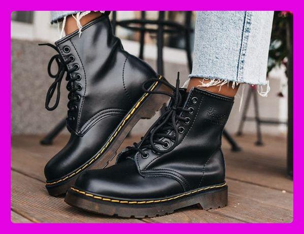 Натур Кожа! Женские ботинки Dr. Martens 1460 Black. Др. Мартинс зимние