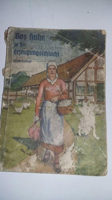 Stara,niemiecka książka o hodowli kurczaków