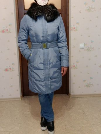 Пуховик, зимнее пальто, мех чернобурки Peercat