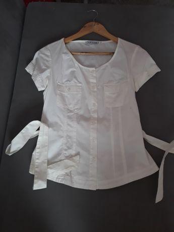 Biała koszula na krótki rękaw z wiązaniem Quiosque, r. 38