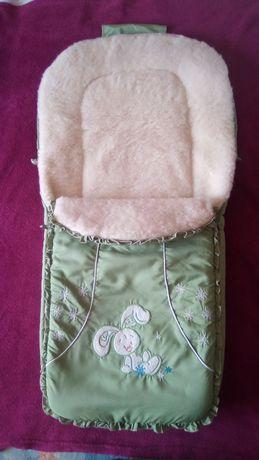 Конверт чехол футмуф спальник спальный мешок на овчине в коляску санки