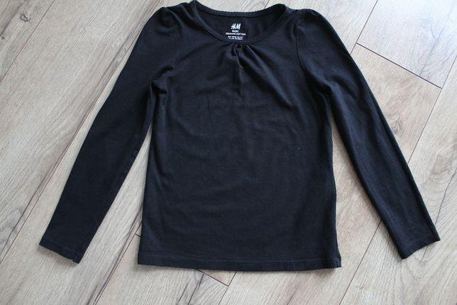 Czarna koszulka z długim rękawem 110/116 HM, czarna bluzka 4-6 lat