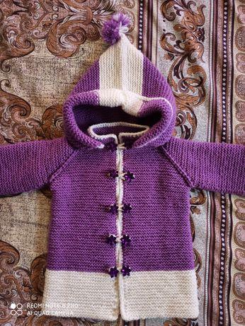 В'язане пальтечко пальто для дівчинки ручної роботи