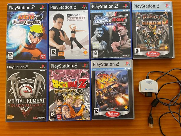 7 Jogos PS2 (Dragon Ball , Naruto, Mortal Kombat..) + câmara Eye Toy