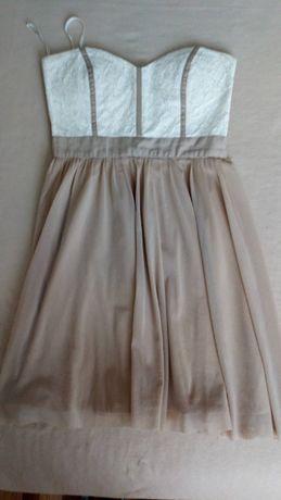 Sukienka asos 36 zara bezowa