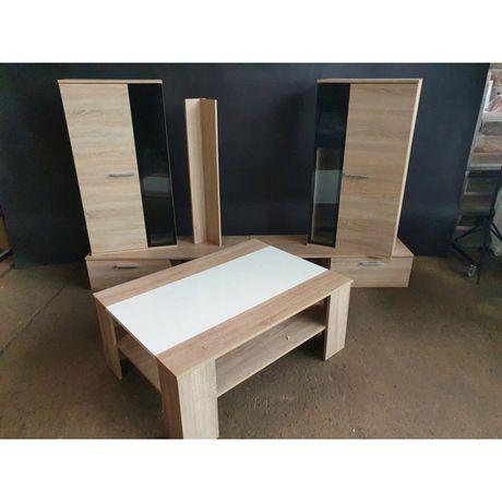 Zestaw mebli drewnianych stół szafki komoda