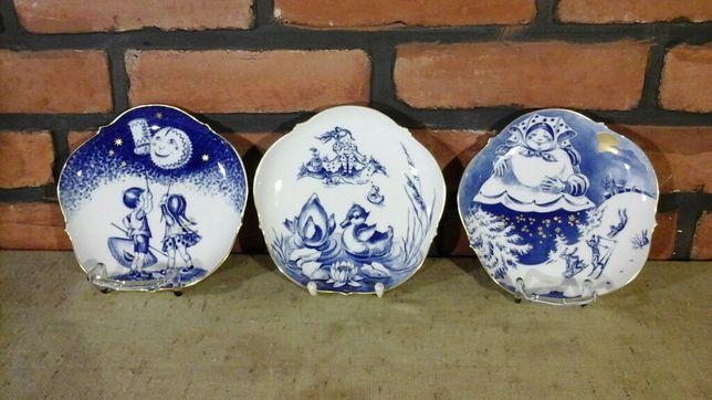 Porcelana MEISSEN,Miśnia, Wiszące talerze, AQUATINTA,Frau HOLLE