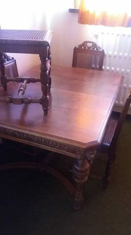 Meble drewniane stół krzesła szafka komplet