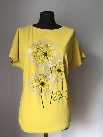 Żółta bluzka oversize sciagacze L/XL 40/42