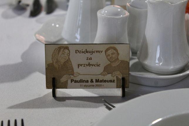 Winietki weselne, grawerowane zdjęcie, nowość, podziękowania dla gości
