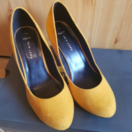 Zamszowa skórzane musztardowe buty róż 40