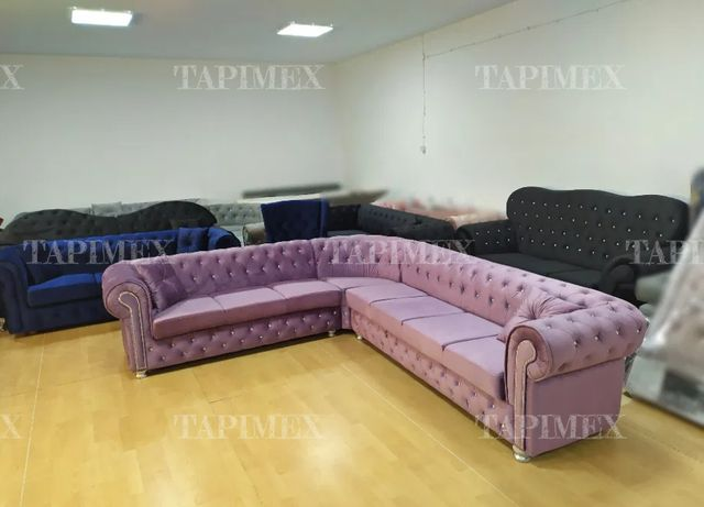 Narożnik chesterfield glamour fiolet spanie