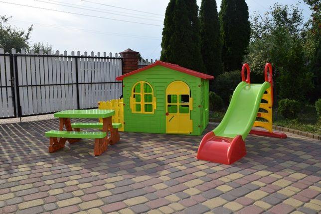 Розпродаж Детский игровой домик Garden House с террасой + Горка Польща