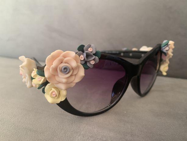 Piekne okulary kwiaty floral cat eye D&G roze orchidee