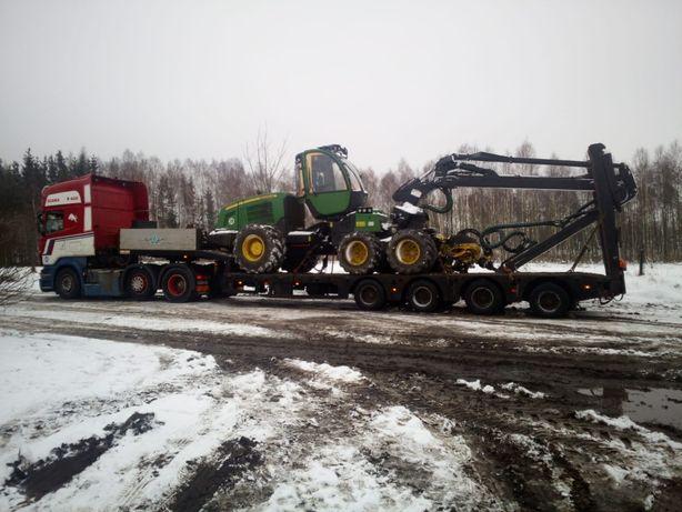 Kopanie stawów, transport maszyn rolniczych, transport niskopodwoziowy