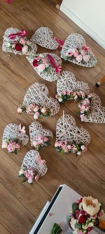 Ozdoby weselne wieszaki serce wiklinowe balony serca dekoracje wesele