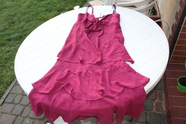 bordowa sukienka z falbanami nowa rozm 40 taneczna latino do tańca