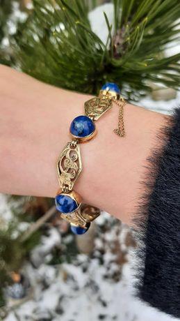 Złota bransoleta z lapis lazuli