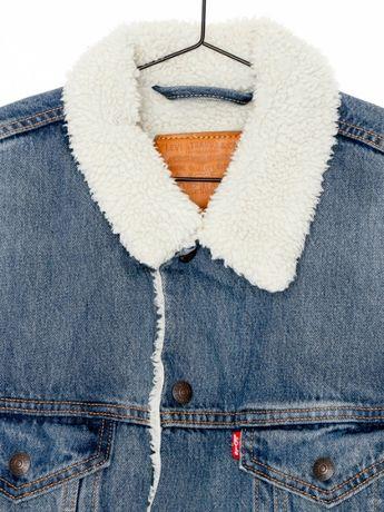 Kurtka jeansowa kozuch Levis Sherpa Long trucker vintage diesel tommy