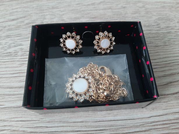 Komplet biżuterii Avon złoty z macicą perłową
