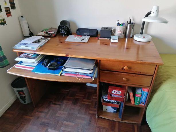 secretária com 2 gavetas e prateleira deslizante