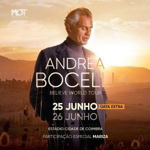 Andrea Bocelli - 25 de Junho - 5 bilhetes - bancada superior