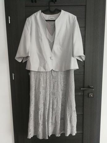 Srebrny szary zestaw sukienka i żakiet stan bardzo dobry wesele