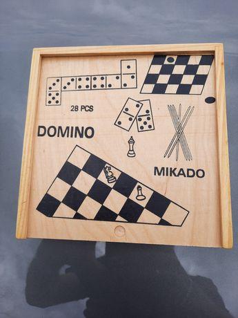 Domino, Mikado, Szachy, Warcaby - PRL drewniany zestaw - nowy
