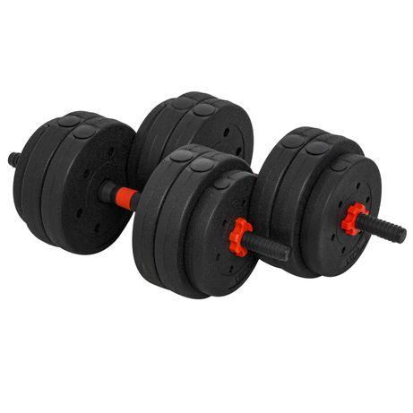 Conjunto de halteres 2 em 1 25 kg com barra ajustável