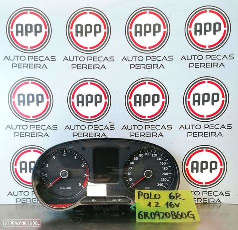 Quadrante VW Polo 6R de 2012 referência 1.2 12V gasolina referência 6R0920860G.