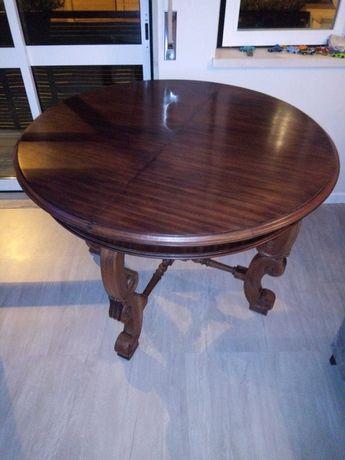 Mesa redonda de madeira caoba
