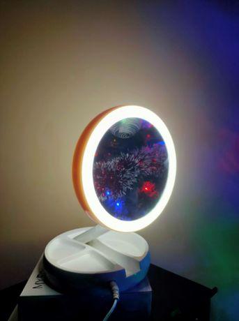Универсальное мобильное зеркальце для гримма с led подсветкой круглое