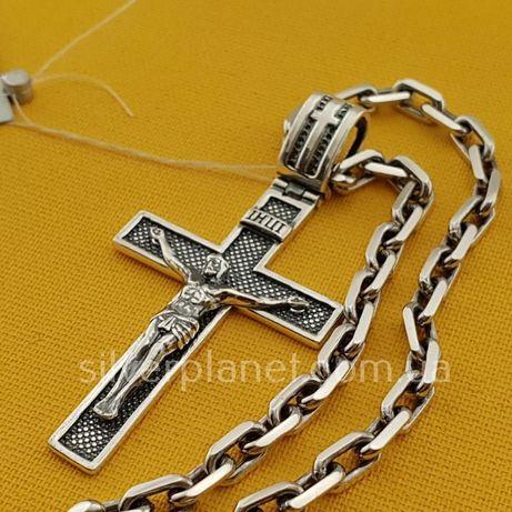 Комплект! Серебряная цепочка и крестик для мужчины. Якорная цепь крест