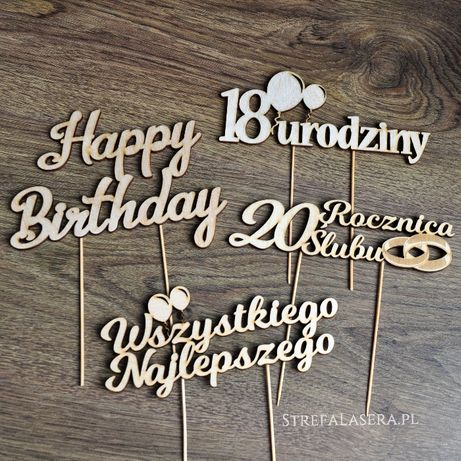 Topper na tort chrzest ślub wesele urodziny komunia 18stka rocznica
