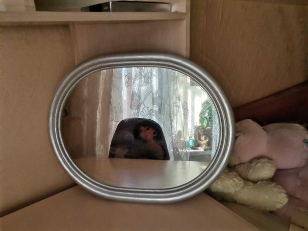 Зеркало овальное серебристый