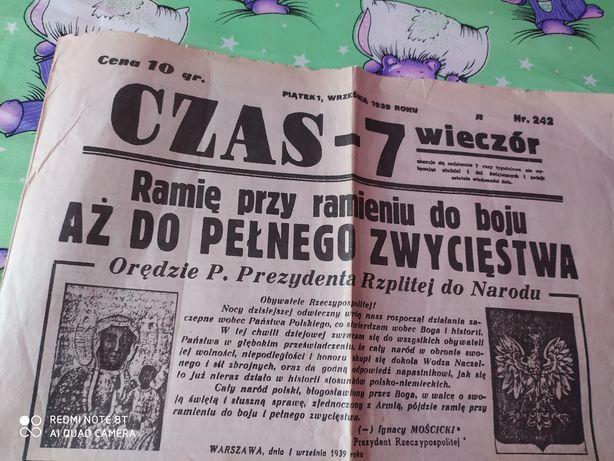 Gazeta Czas -7  1.09.1939 ORYGINAŁ Antyk ZAMIANA