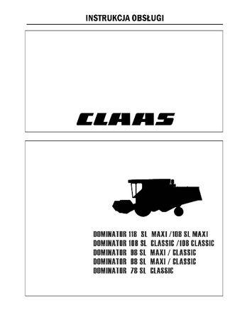 Instrukcja obsługi Claas Dominator maxi classic