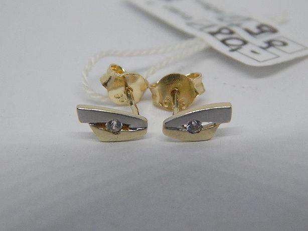 złote kolczyki białe i żółte złoto pr 585 (14) waga 0,9 g na sztyft
